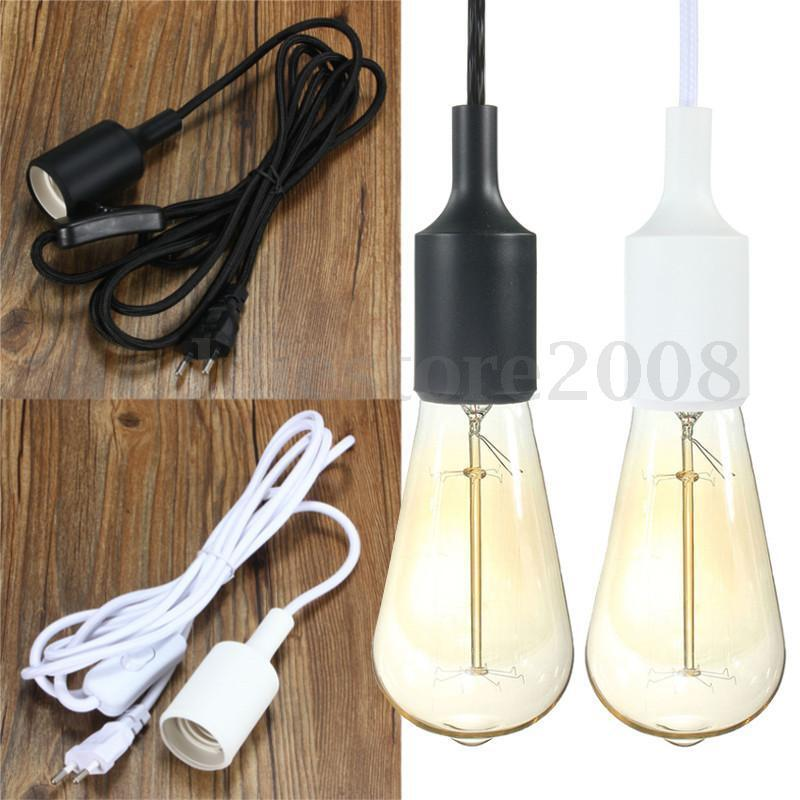e27 plug in hanging lantern cord cable light socket pendant bulb lamp. Black Bedroom Furniture Sets. Home Design Ideas