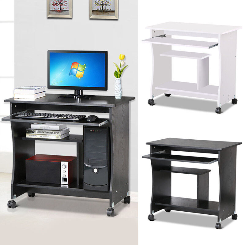 home office small portable wooden computer trolley desk. Black Bedroom Furniture Sets. Home Design Ideas