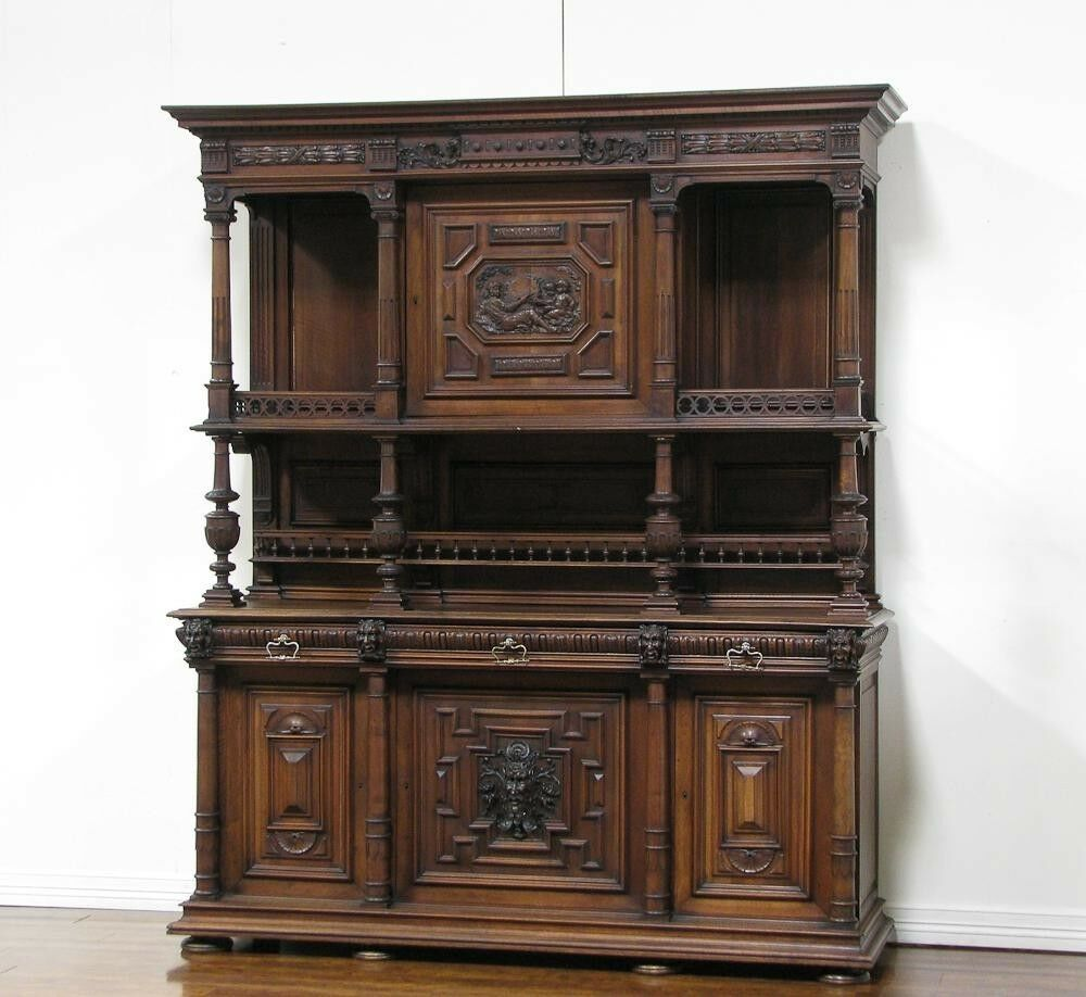 1106077 large antique french renaissance carved buffet for Carved kitchen cabinets