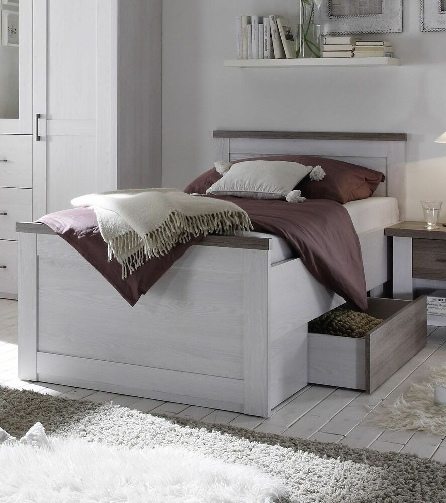 bett seniorenbett 100 x 200 cm pinie weiss tr ffel woody 62 00204 ebay. Black Bedroom Furniture Sets. Home Design Ideas