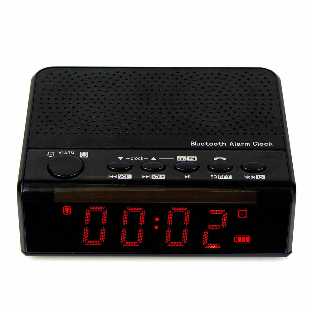 portable bluetooth speaker alarm clock fm radio w mp3 player phone call battery ebay. Black Bedroom Furniture Sets. Home Design Ideas