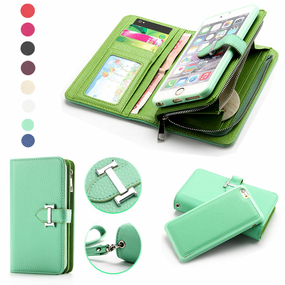 wallet for iphone 6 plus luxury card zipper detachable handbag coin wallet for 18167