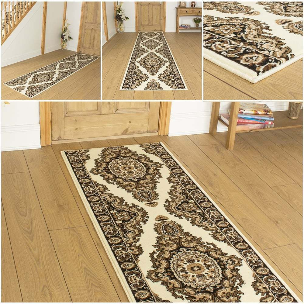 turkesh cream hallway carpet runner rug mat for hall extra very long cheap new ebay. Black Bedroom Furniture Sets. Home Design Ideas