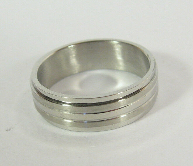 Stainless Steel Band Spin Ring Hypoallergenic Mens Wedding