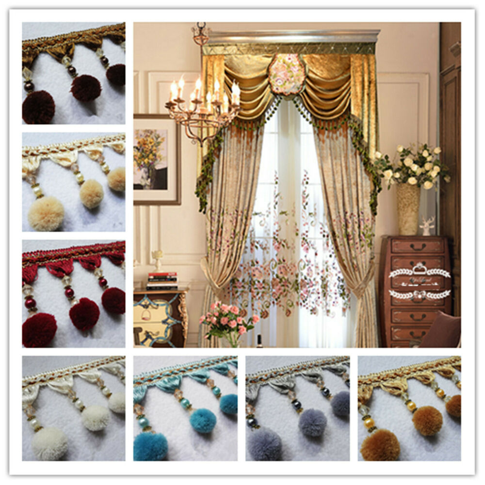 curtain 1m trim plush ball beaded fringe costume upholstery crafts ebay. Black Bedroom Furniture Sets. Home Design Ideas