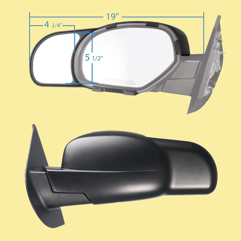 2 Clip On Towing Mirrors Tow Extension Side Rear View