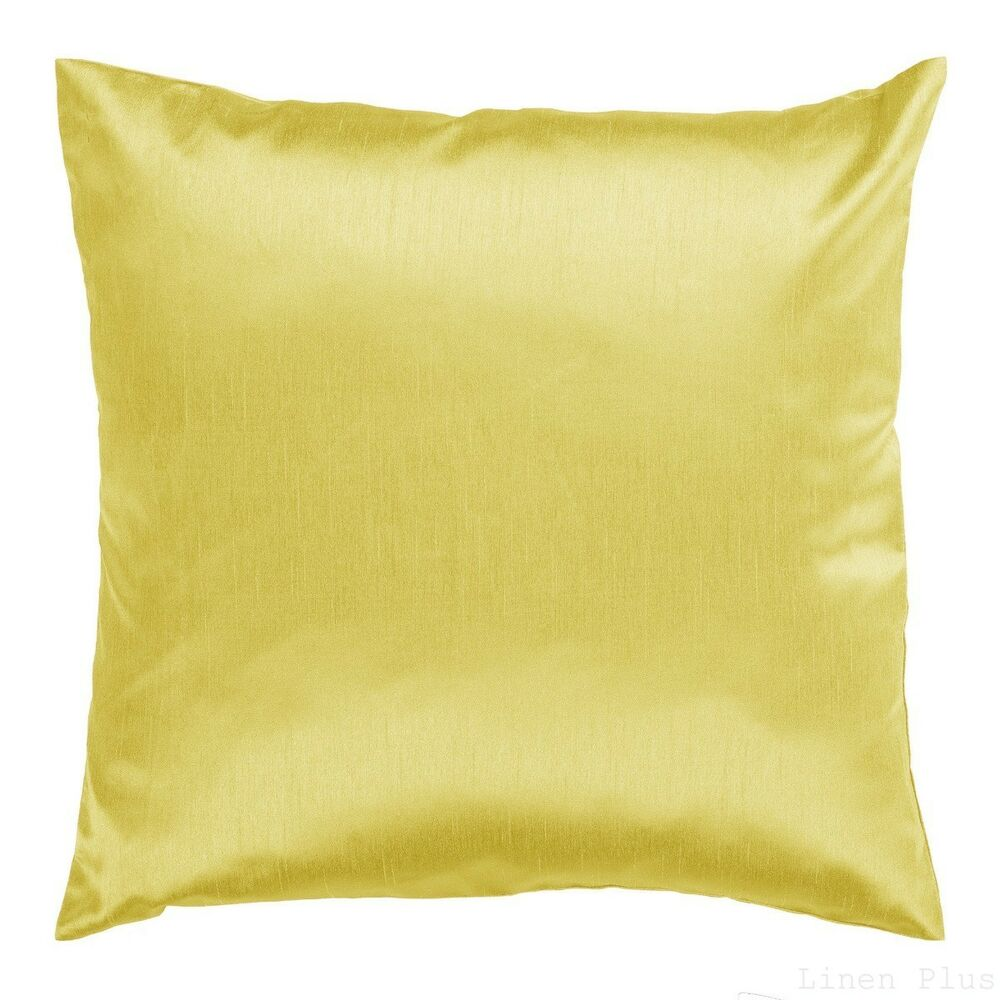 Throw Pillow Zipper Covers : 2 Piece Solid Yellow Cover Case Decorative Pillow Zippered Closure 18