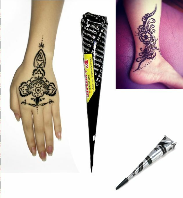 Temporary Tattoo Ink Like Henna: Brown/black Herbal Henna Cones Temporary Tattoo Kit Body
