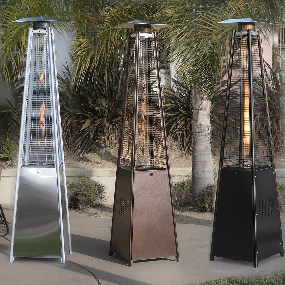 Outdoor Patio Heaters New Zealand: 42,000BTU Deluxe Outdoor Pyramid Propane Glass Tube