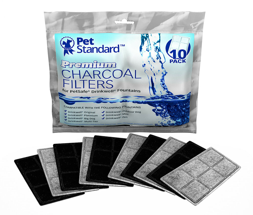 premium charcoal filters for petsafe drinkwell fountains pack of 10 ebay. Black Bedroom Furniture Sets. Home Design Ideas