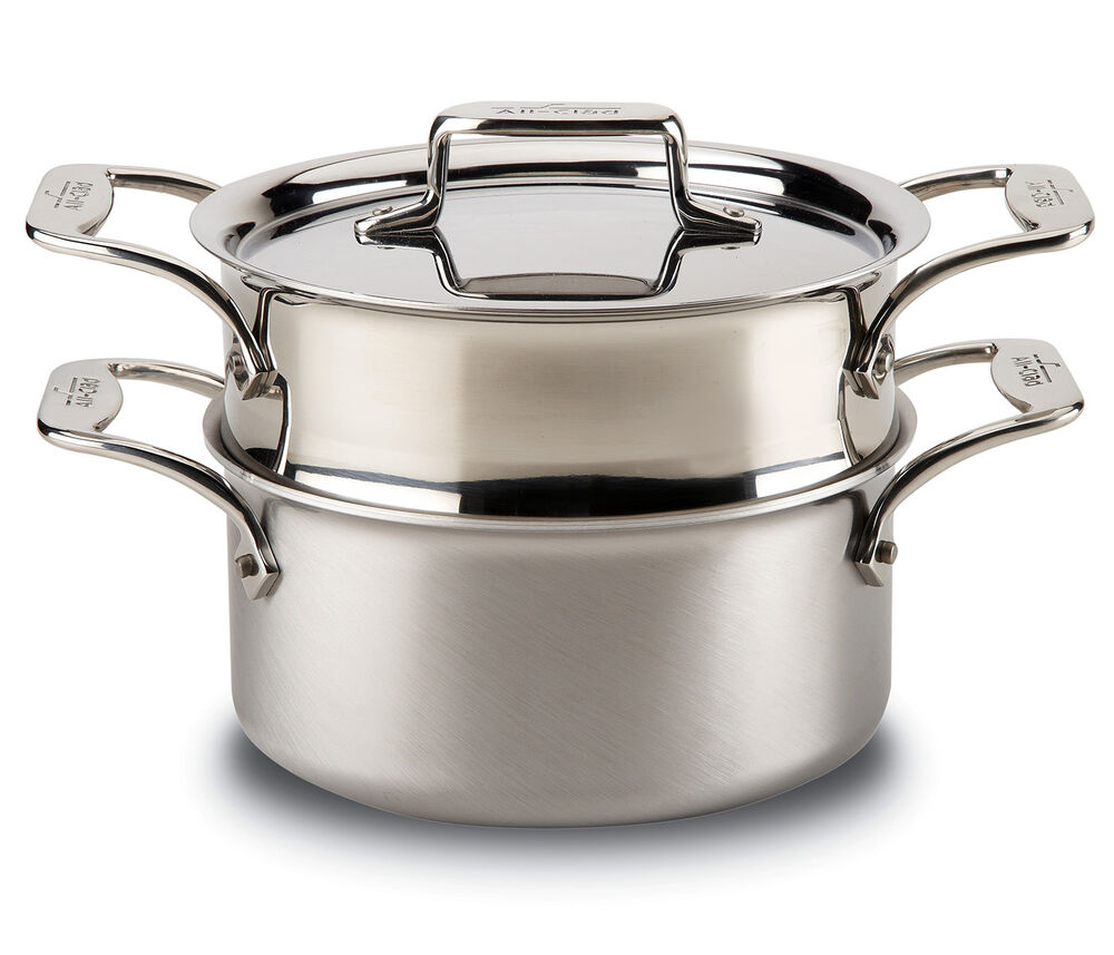 all clad d5 brushed stainless 3 qt casserole w lid steamer ebay. Black Bedroom Furniture Sets. Home Design Ideas