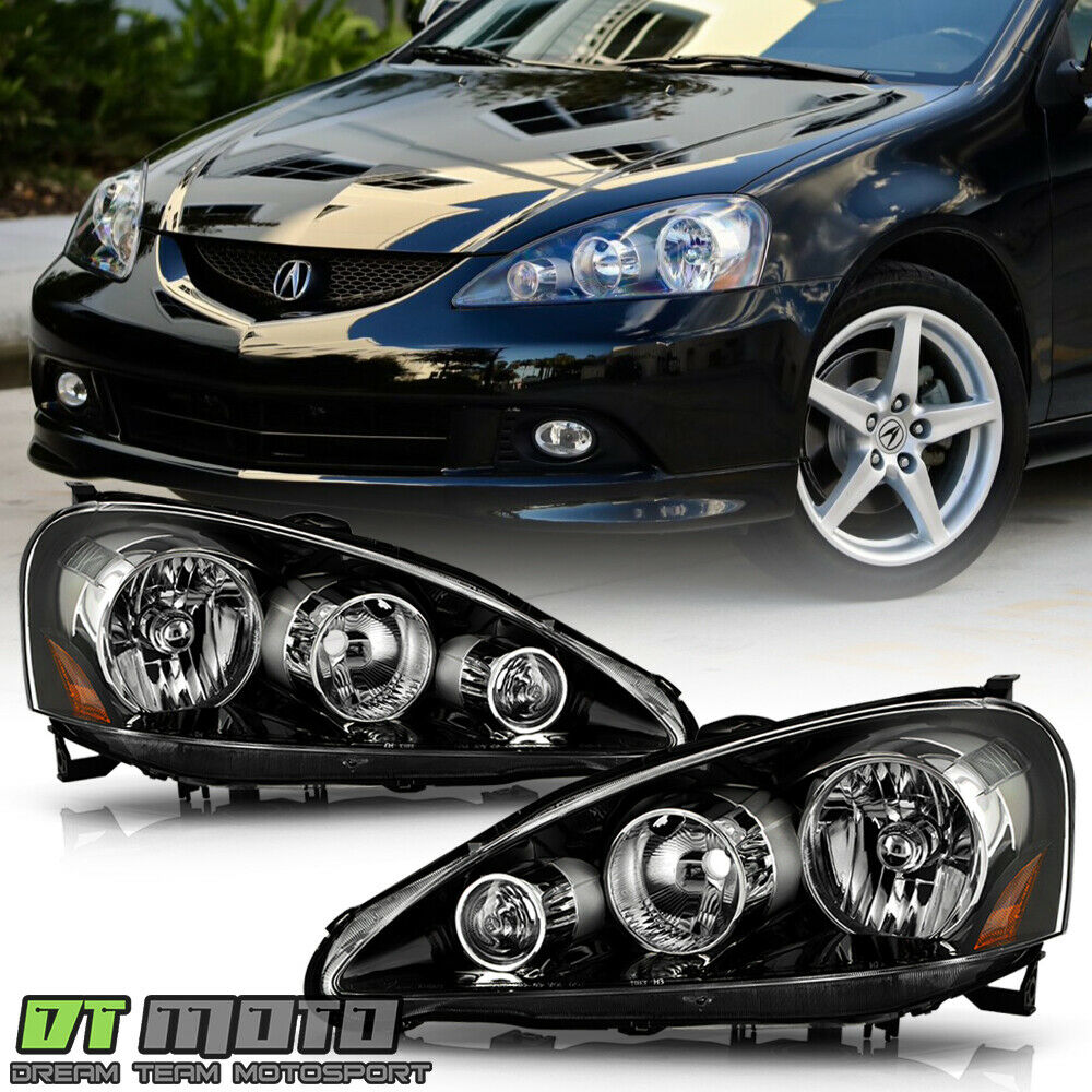 Black 2005-2006 Acura RSX Headlights Headlamps Pair Left
