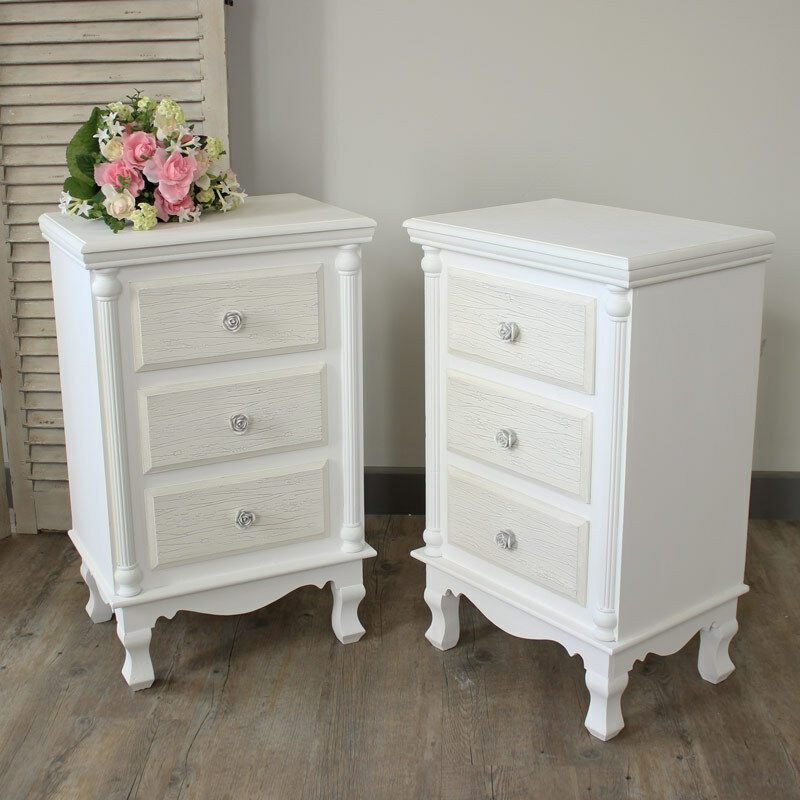 pair white set bedside table cabinet chest shabby vintage 17042 | s l1000