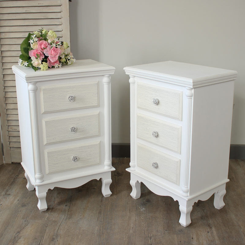 paire blanc set de table de chevet armoire commode shabby vintage chic meubles de chambre ebay. Black Bedroom Furniture Sets. Home Design Ideas