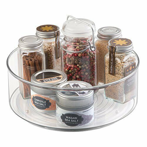 Mdesign lazy susan turntable spice organizer bin for kitchen pantry cabinet ebay - Spice rack for lazy susan cabinet ...