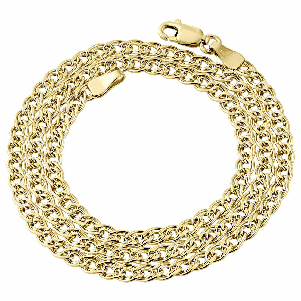 10k yellow gold 3 5mm double cuban curb italian link chain for 10k gold jewelry