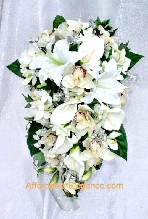 silk orchid wedding bouquets cascade bridal bouquet calla amp tiger lilies orchids 7411