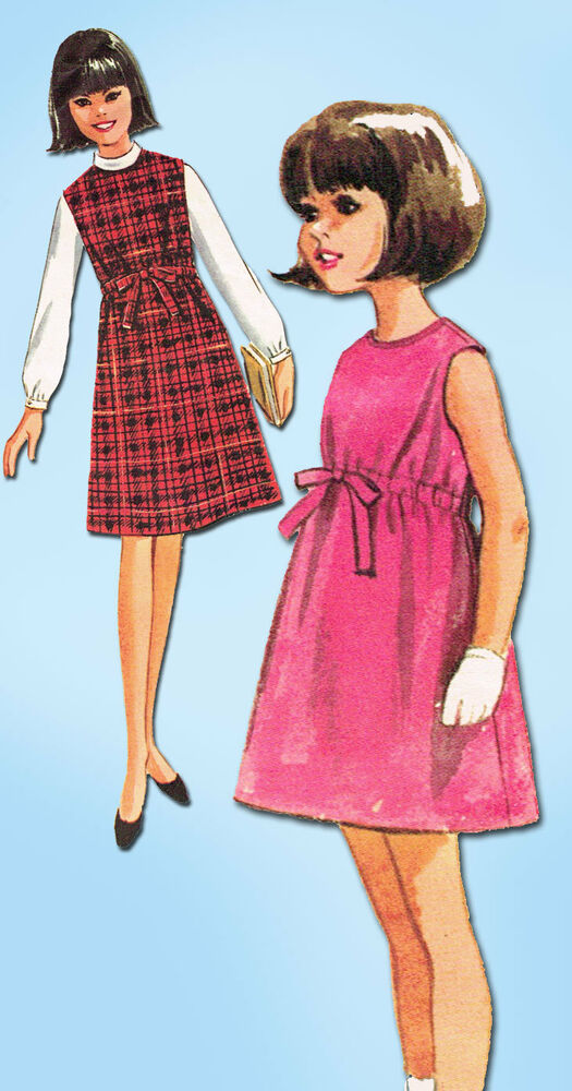 1960s Vintage McCalls Sewing Pattern 7410 Easy Girls Jumper Dress u0026 Blouse Sz 12 | eBay