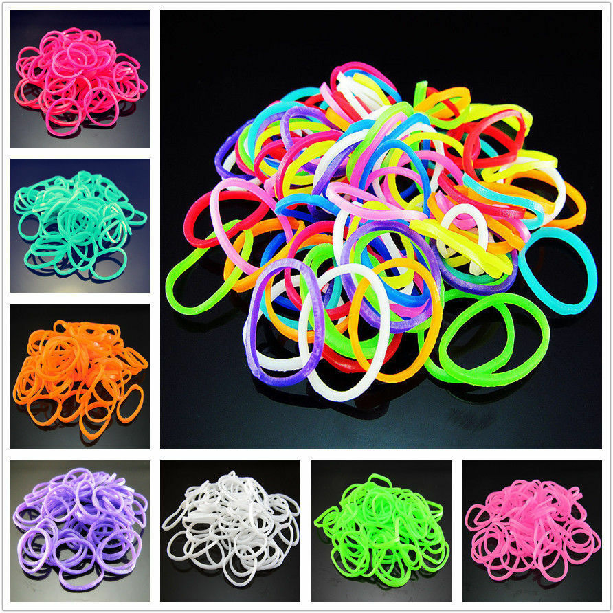Diy Bands: 600x 24Clips1loom Tie Dye Rainbow Rubber Bands Loom Refill
