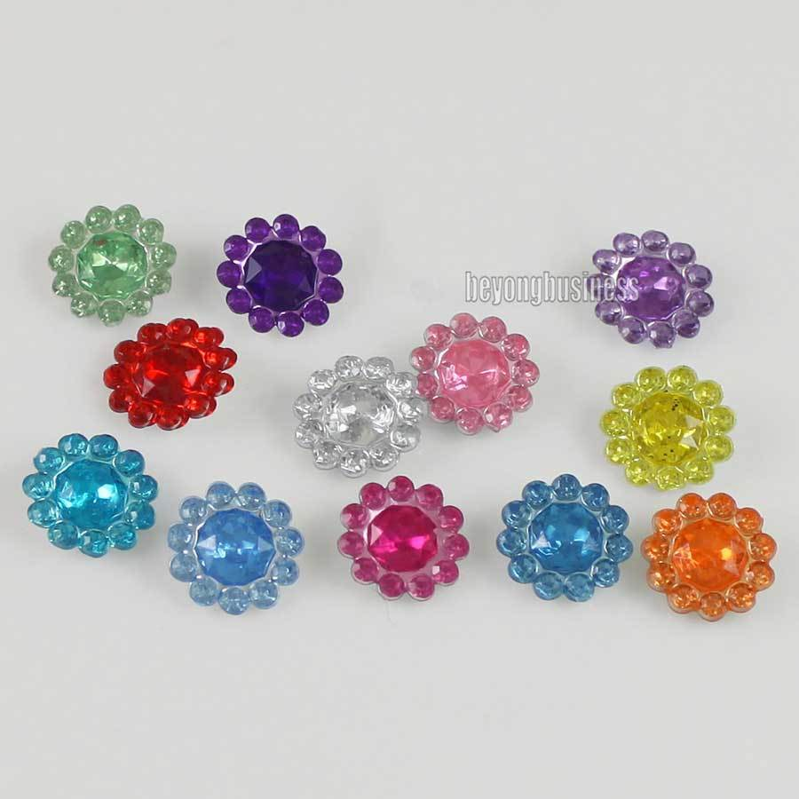 wholesale 1000 pcs acrylic flower beads scrapbooking