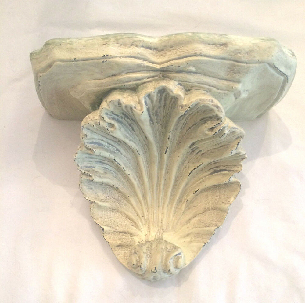 distressed sea shell seashell wall shelf resin beach decor nautical coastal ebay. Black Bedroom Furniture Sets. Home Design Ideas