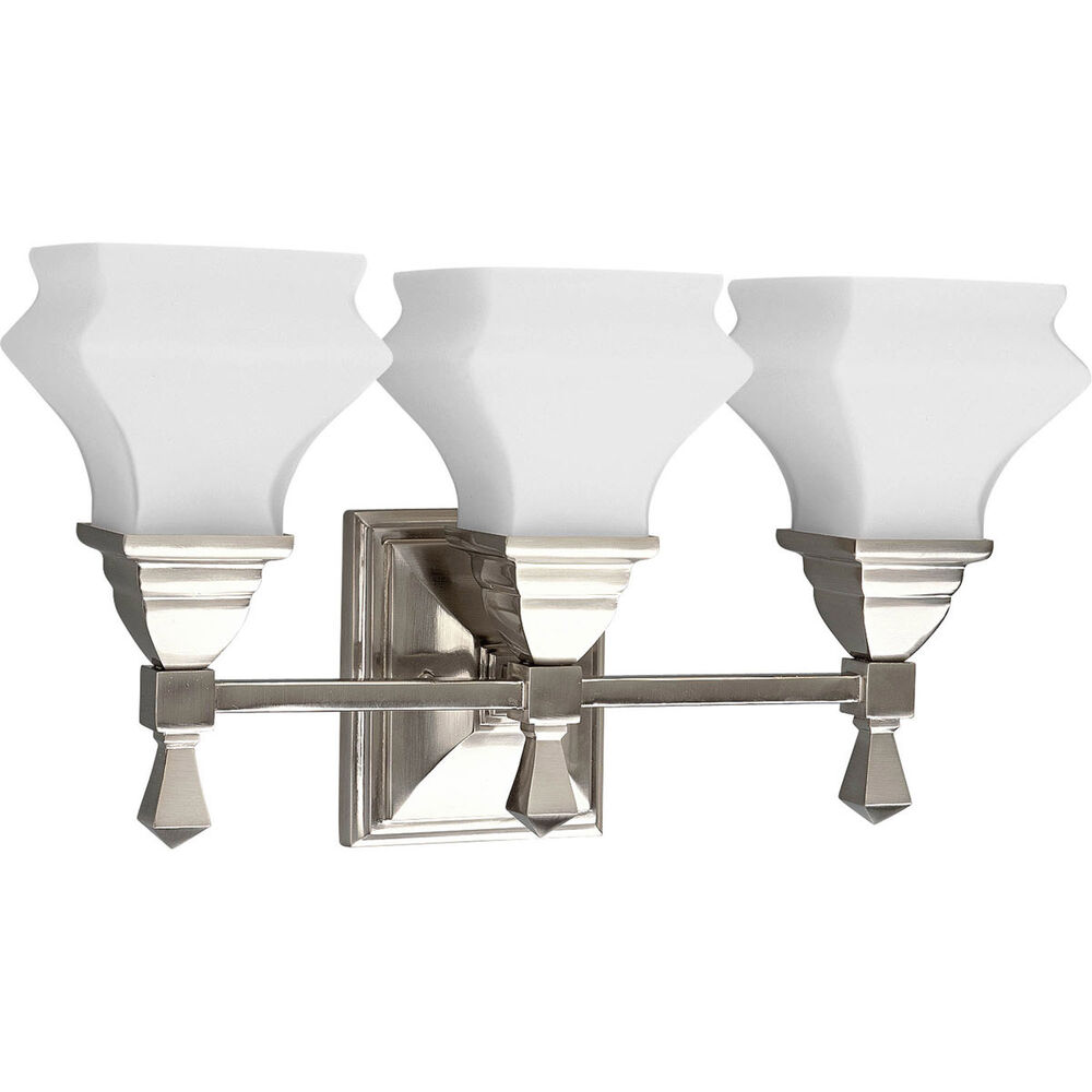 bathroom vanity fixture 3 light brushed nickel progress lighting p3297 09 ebay. Black Bedroom Furniture Sets. Home Design Ideas