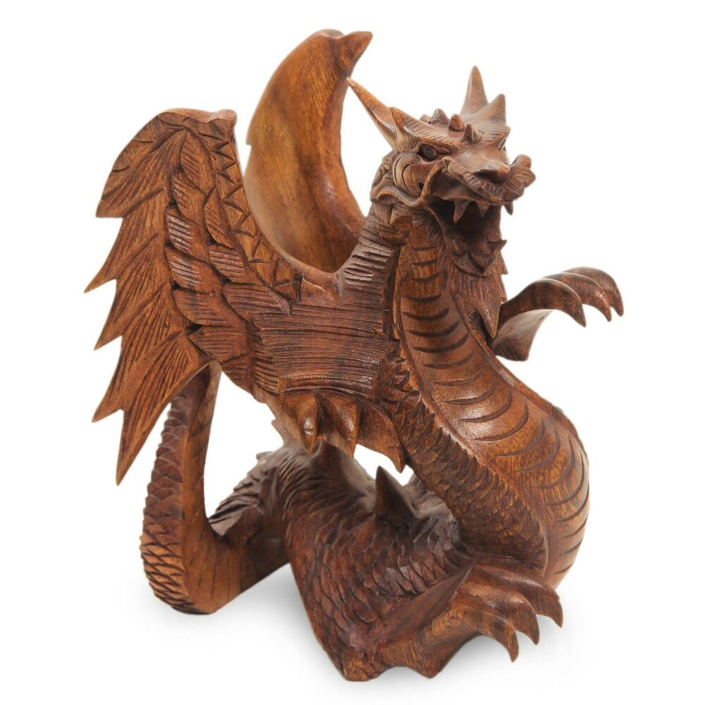 Baby dragon sculpture hand carved wood statuette