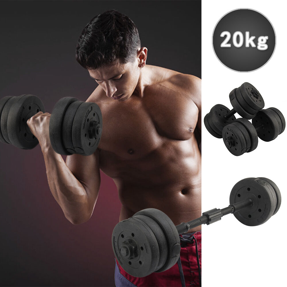 20KG Weights Dumbbell Set Gym Fitness Biceps Exercise ...