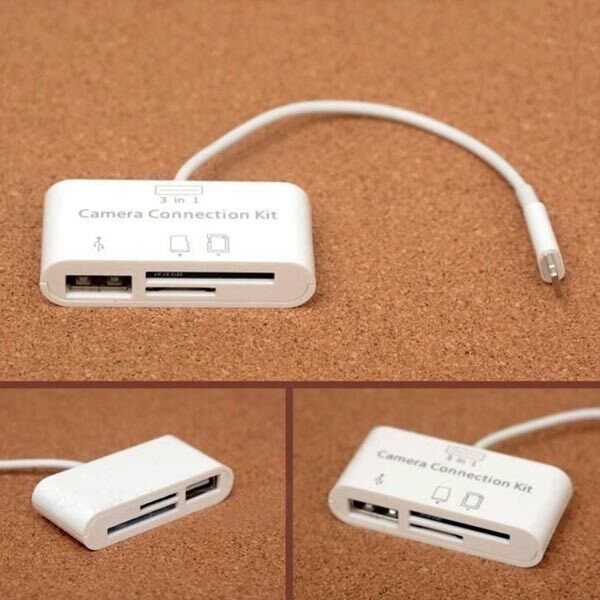 Usb Sd Apple Adapter: 3 In 1 USB Card Reader Micro SD Camera Connection Adapter