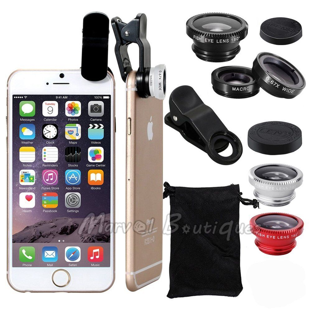 iphone camera lens 3 in1 clip fish eye macro wide angle lens kit for 1421