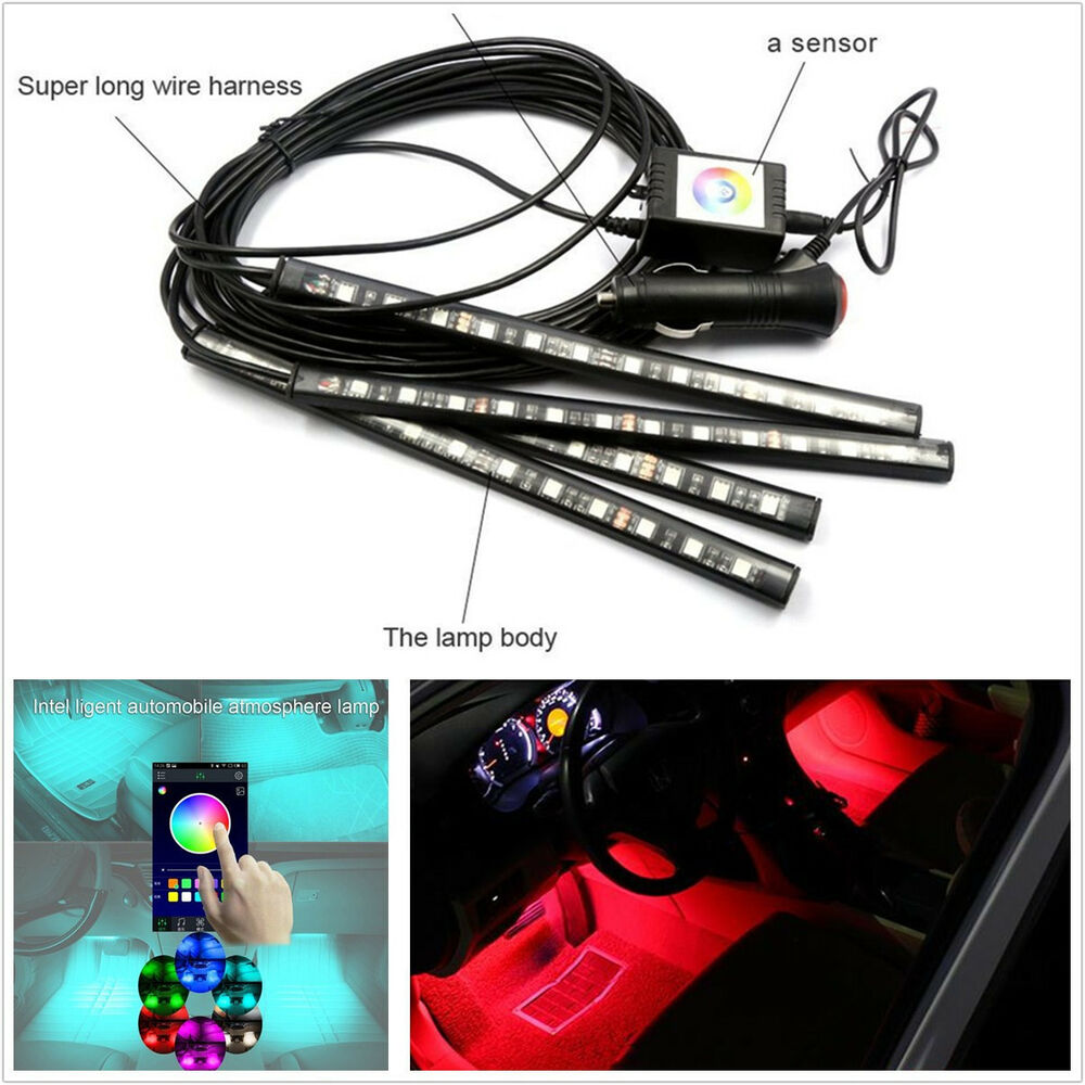 new 12v 4 pcs 12led multi color car interior glow atmosphere lights app control ebay. Black Bedroom Furniture Sets. Home Design Ideas