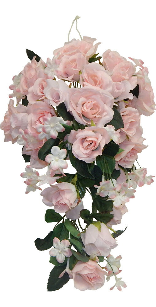 silk rose wedding bouquets pink roses cascade bridal bouquet silk wedding flowers 7413