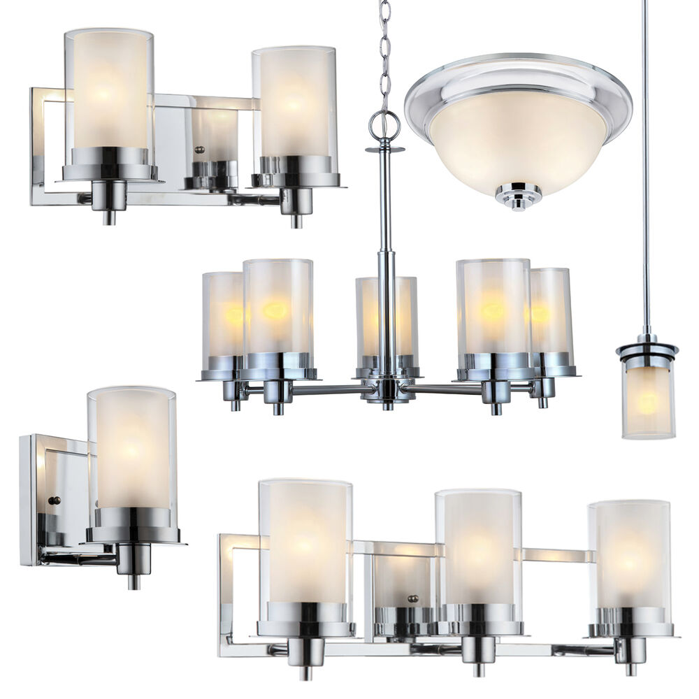Avalon Polished Chrome Bathroom Vanity, Ceiling Lights