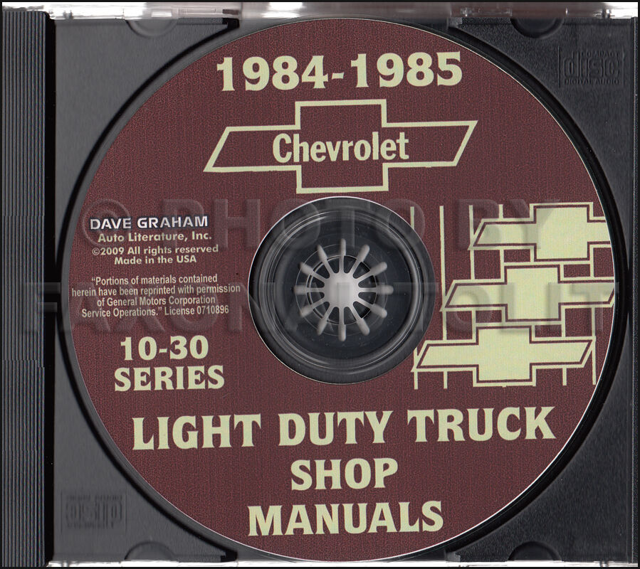1984 1985 chevrolet shop manual cd suburban k5 blazer van. Black Bedroom Furniture Sets. Home Design Ideas