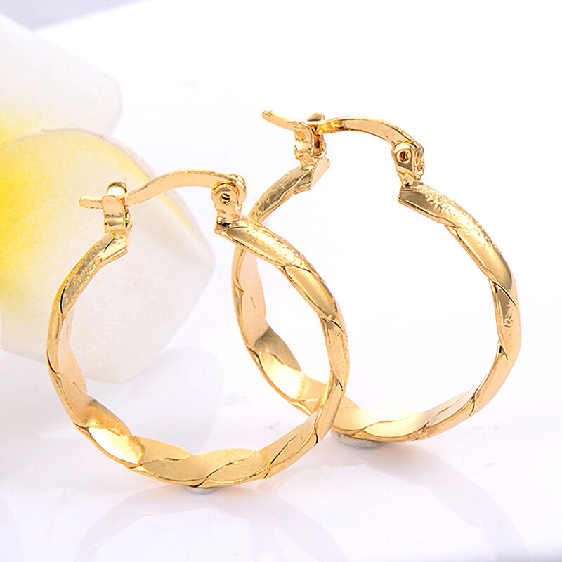 24k Yellow Gold Plated Spiral Leverback Hoop Earrings ...