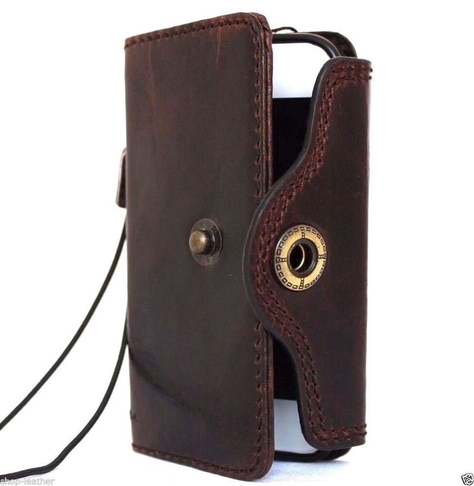 Immediate Credit Card >> genuine vintage leather case for iphone SE 5c 5s book ...