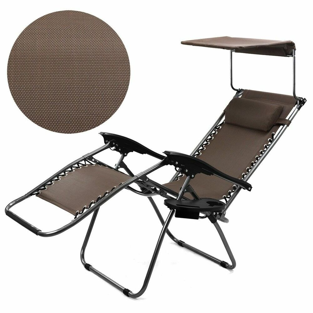 Brown Zero Gravity Lounge Chair Canopy Sun Shade Cup ...