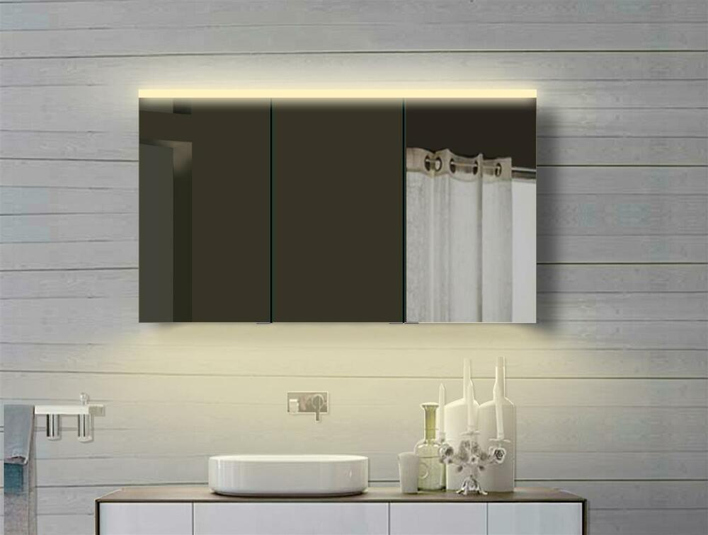 luxaqua aluminium badezimmer spiegelschrank mit led in warm kaltwei ydc120 70dp ebay. Black Bedroom Furniture Sets. Home Design Ideas