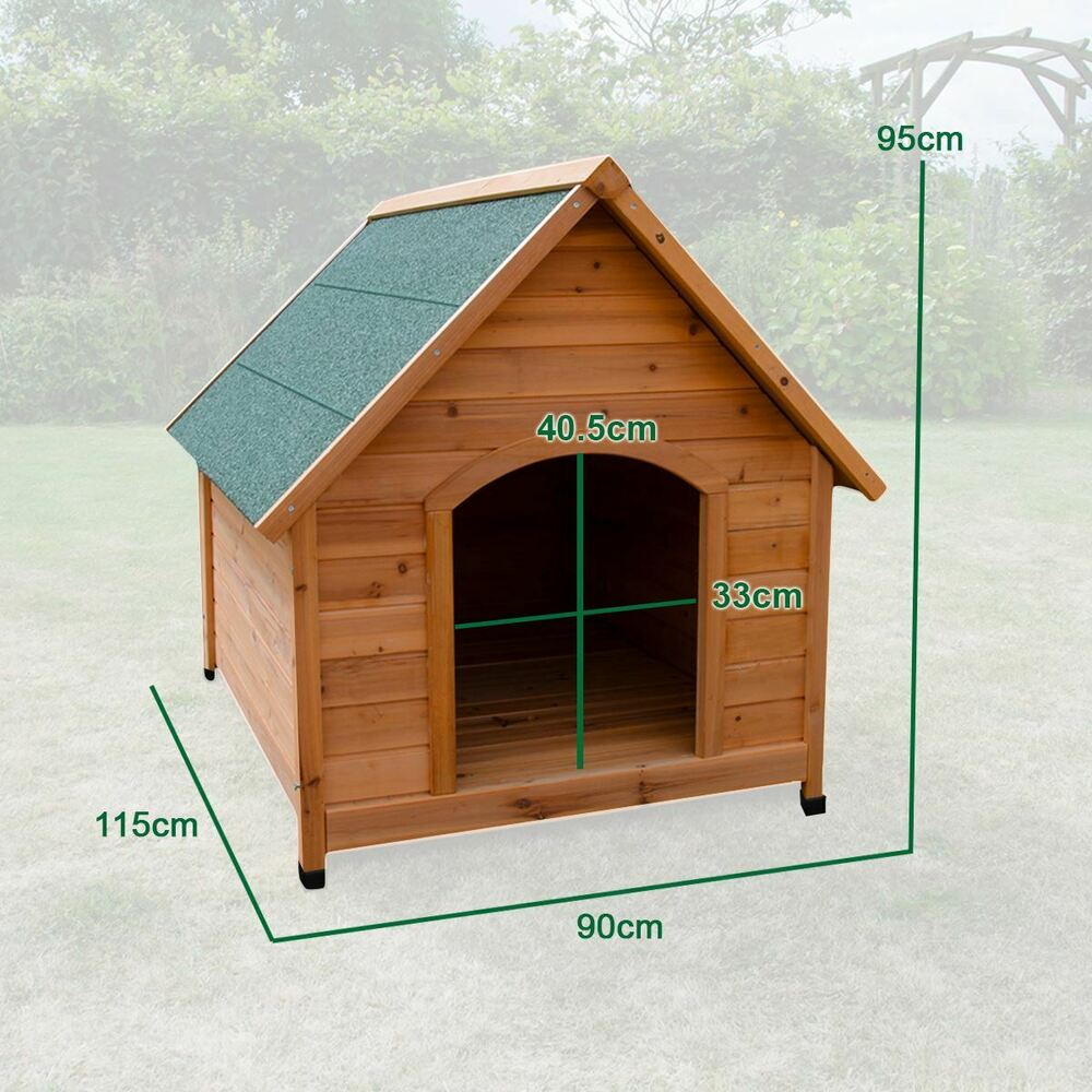 EXTRA LARGE WOODEN DOG KENNEL PET HOUSE OUTDOOR SHELTER ...