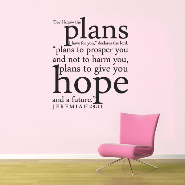 scripture bible wall decal for i know the plans jeremiah 29 11 quote vinyl decor ebay. Black Bedroom Furniture Sets. Home Design Ideas