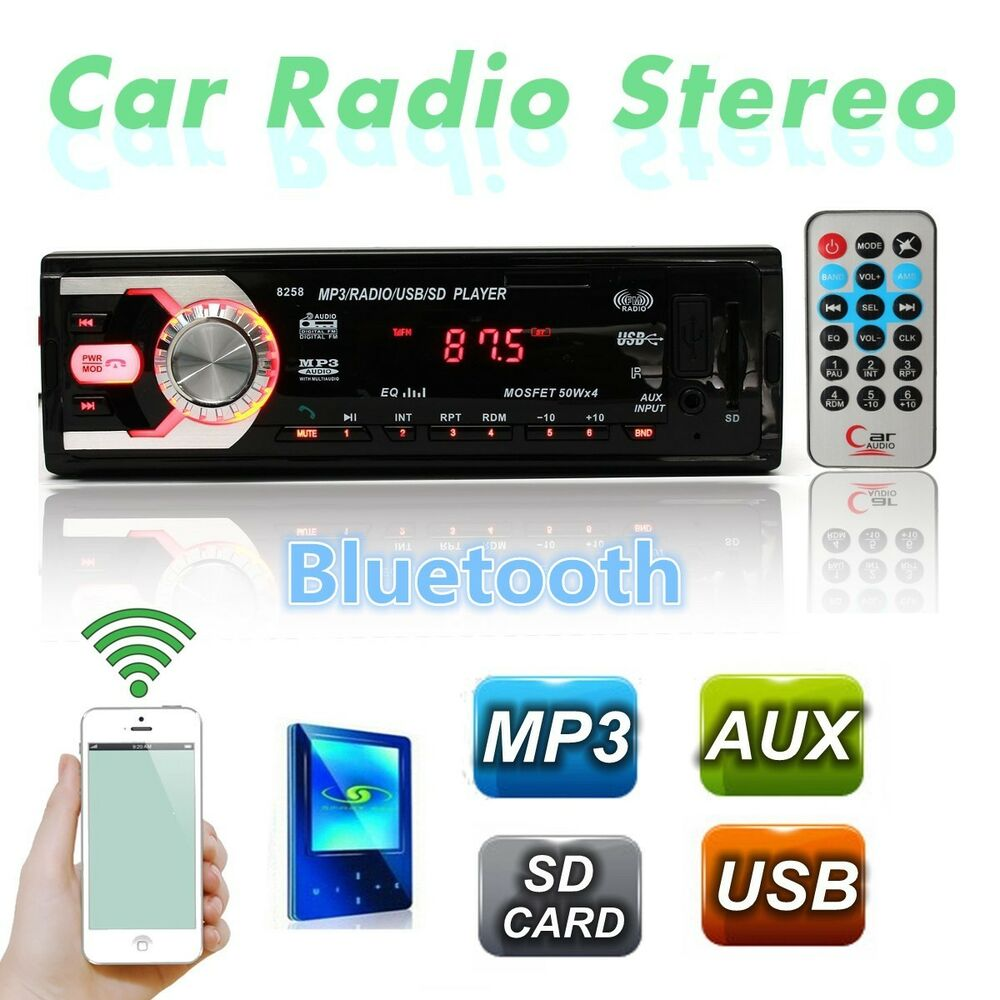 Bluetooth Car Audio IN Dash Stereo MP3 Radio Player FM Aux