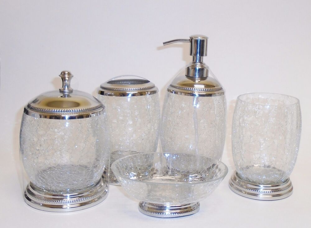 5 Pc Set Clear Cracked Lrg Glass Soap Dispenser Dish