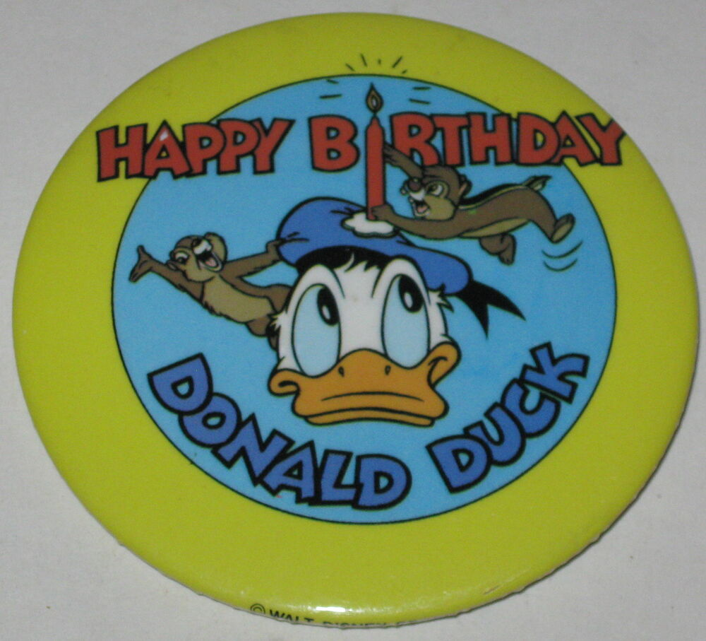 """Happy Birthday Donald Duck W/ Chip & Dale Pin 3"""" FREE"""
