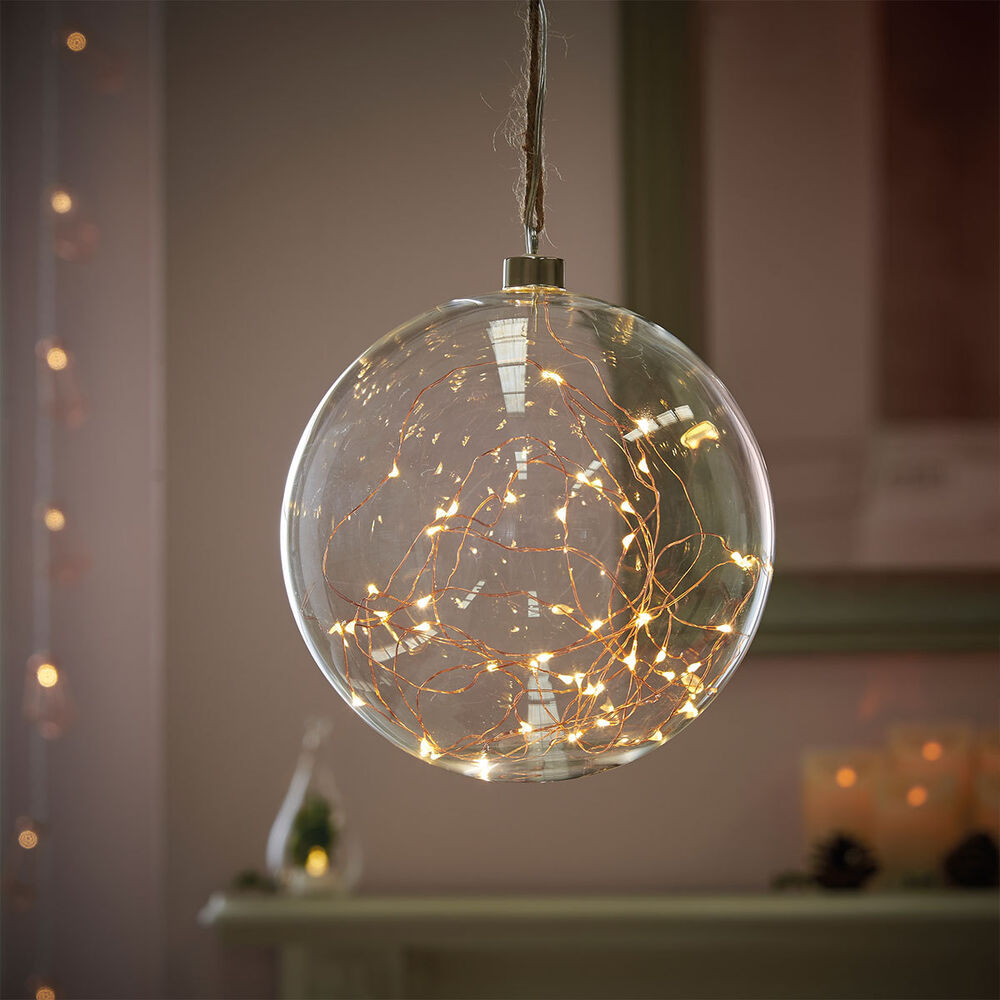 Ball String Lights Indoor : 50 LED INDOOR GLASS HANGING XMAS BAUBLE BALL COPPER 20CM FAIRY STRING LIGHTS eBay