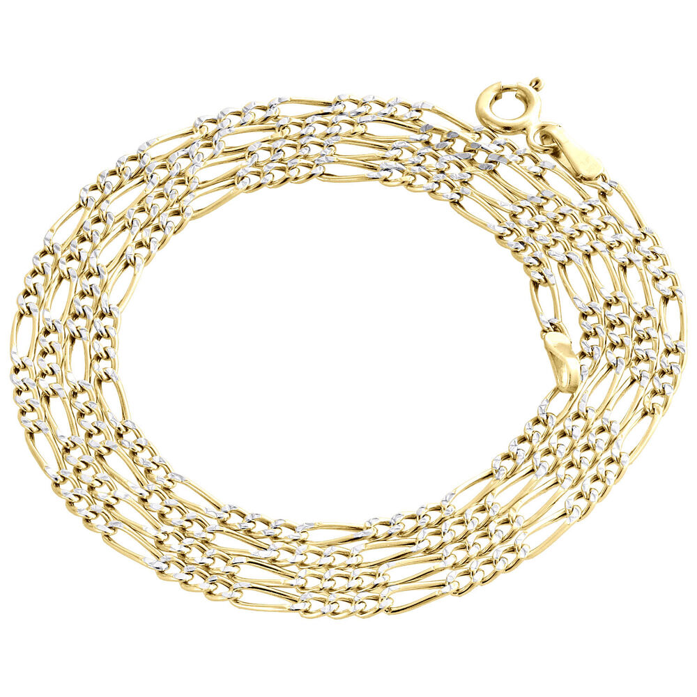 Real 10k yellow gold diamond cut figaro style chain 2mm for 10k gold jewelry