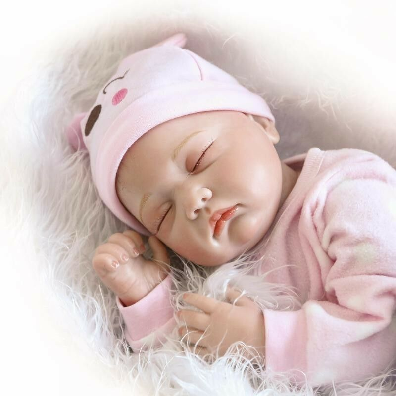 Real Looking Sleeping Reborn Baby Doll Girl Silicone Pink ...