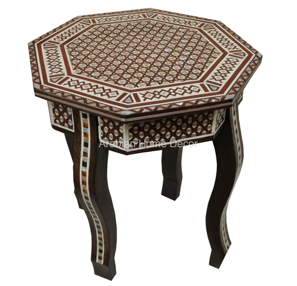 Egyptian Moroccan Mother Of Pearl Inlay Octagonal Wood Side Coffee Table Ebay