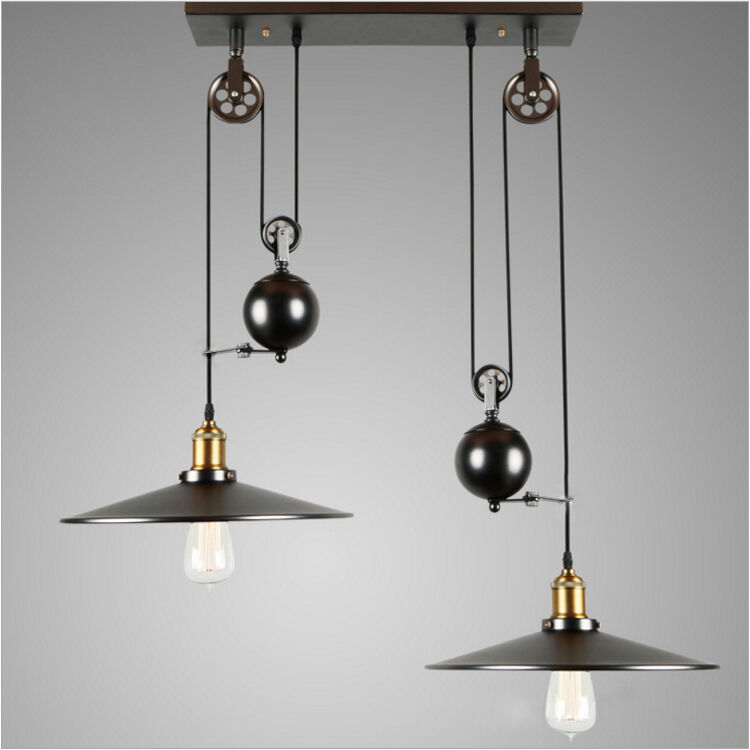 Industrial Vintage Pulley Pendant Lamp Adjustable Wire