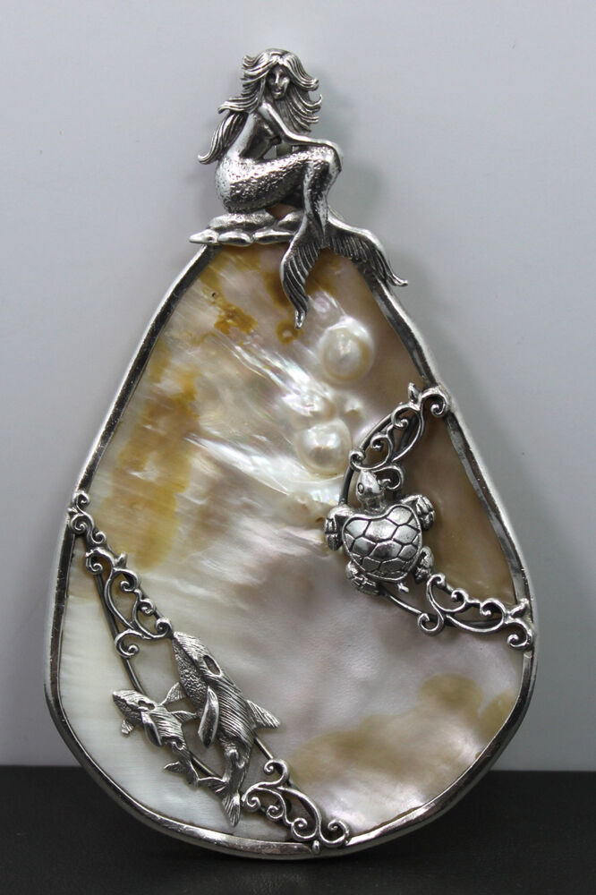 Sterling Silver Large Mother Of Pearl Ocean Art Nouveau