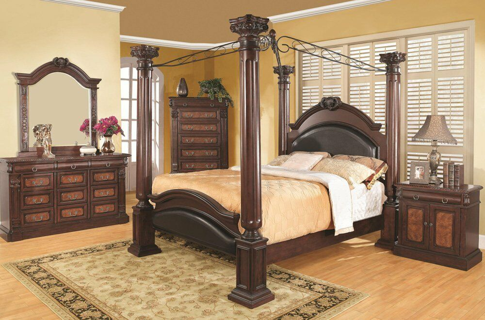 NEW 4PC PRADO TRADITIONAL CHERRY FINISH WOOD QUEEN KING